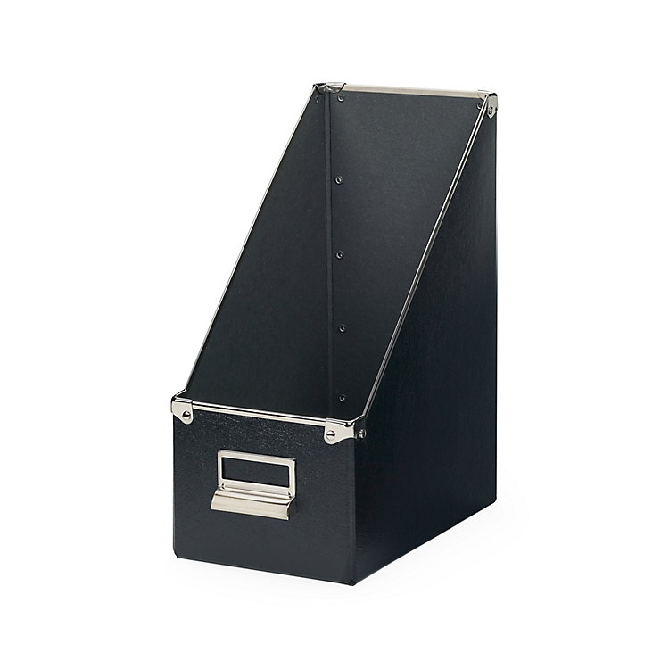 15 cm Metal Reinforced Magazine File Box Black