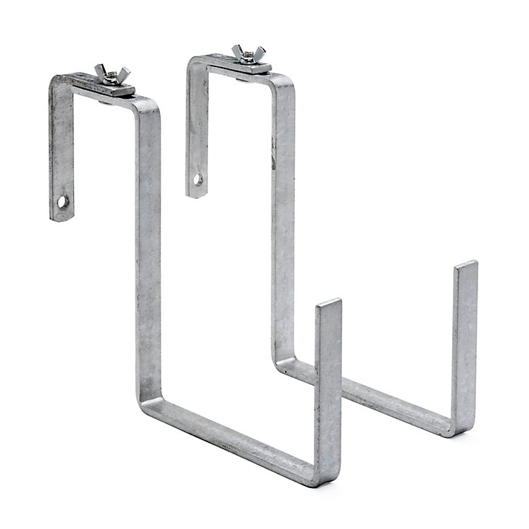 2 Galvanized Steel Balcony Box Brackets