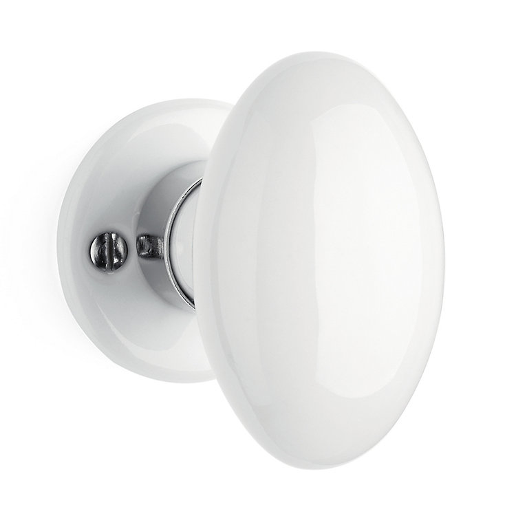 2 Porcelain Door Knobs White