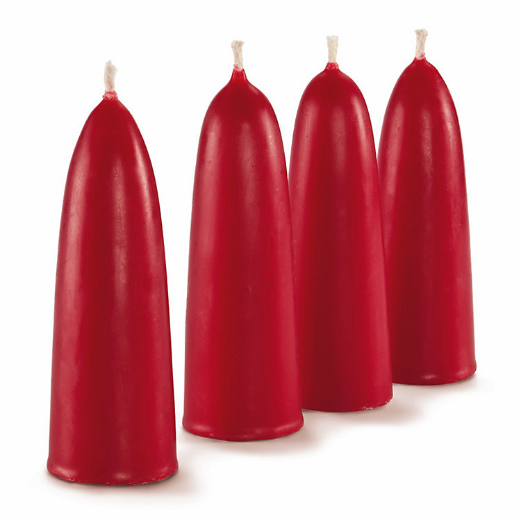 4 Red Beeswax Advent Candles