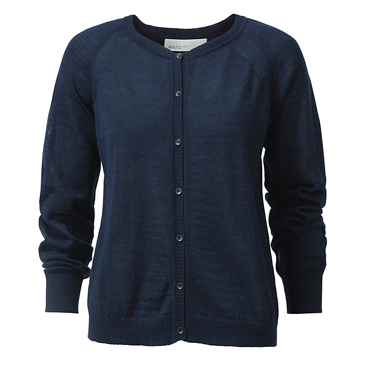Aiayu Llama Wool Women's Lightweight Cardigan Navy