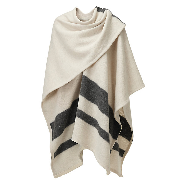 Aiayu Poncho Knit from Llama Wool Natural-grey