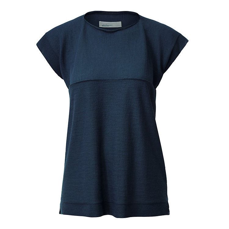 Aiayu Women's Llama Wool Knit Shirt Dark blue