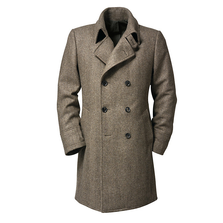 Alpago Herringbone Men's Coat Brown Beige Melange