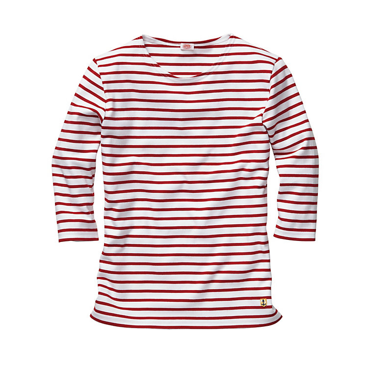 Armor lux Ladies' Shirt With Three Quarter Sleeve White-red