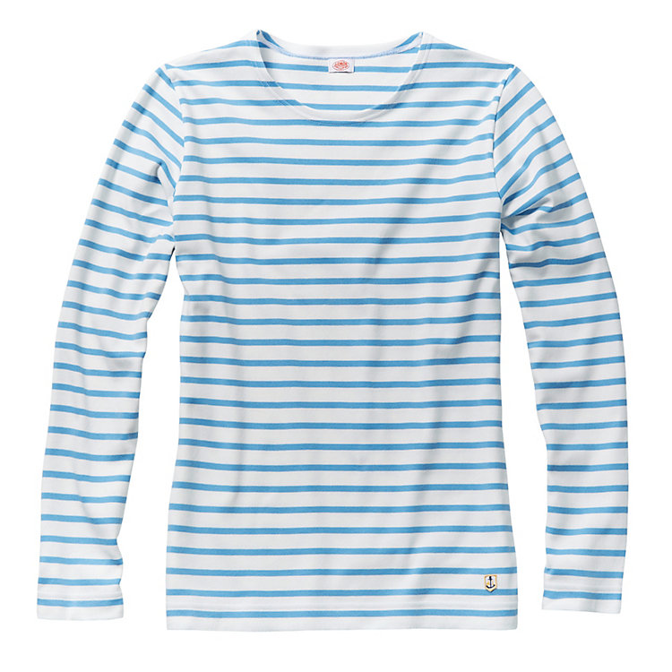 Armor Lux Lady's Sailor Shirt, White and Light Blue