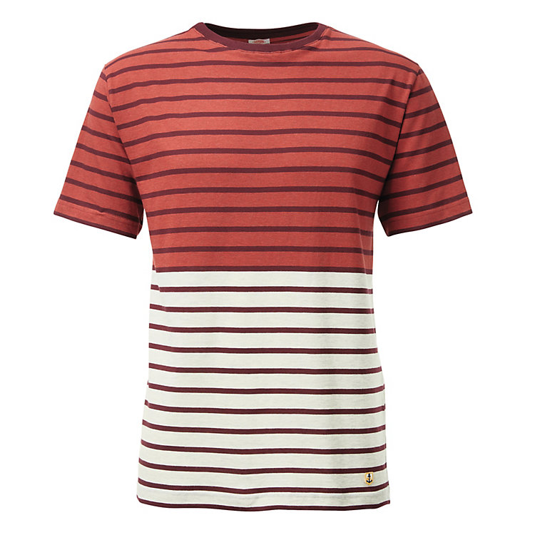 Armor lux Men's T-Shirt Red-Bordeaux-Natural Coloured