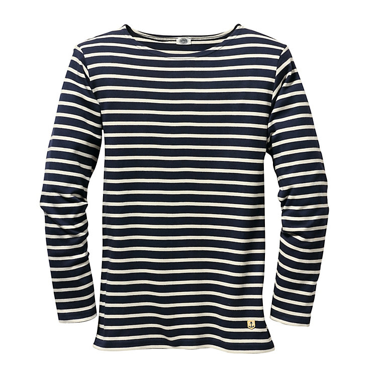 Armor Lux Narrow Sailor's Shirt Navy Blue and Natural Coloured