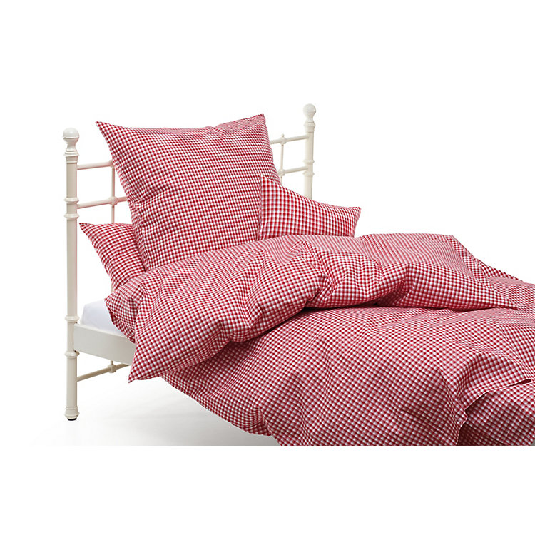 Bed Linen With Checkerboard Pattern Red and White checkered 155 × 220 cm