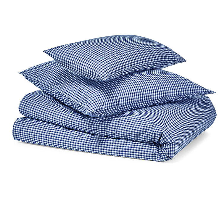 Bed Linen With Checkerboard Pattern Oversize Blue and White checkered