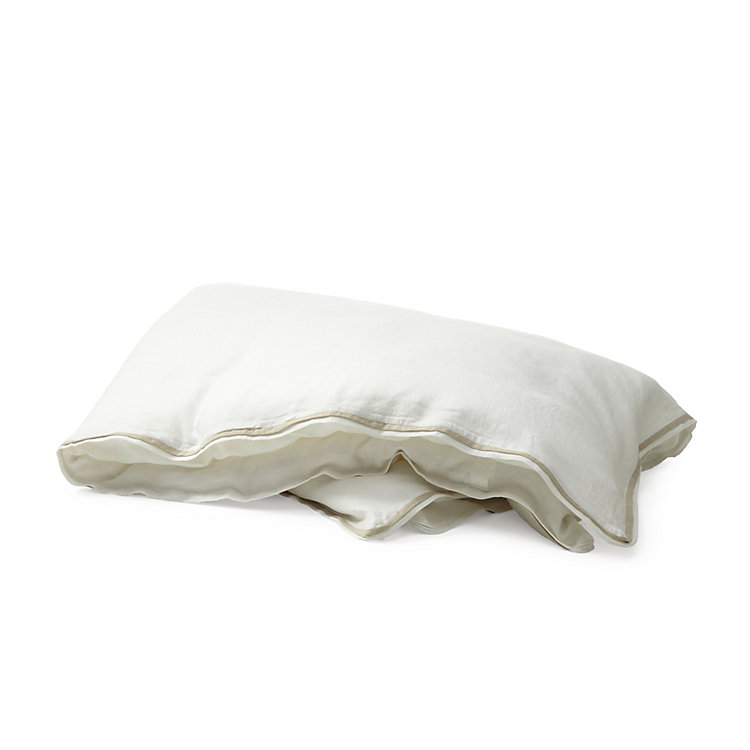 Bed Linen Made of Washed Linen 155 x 220 cm White