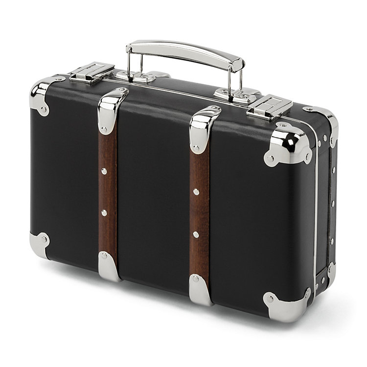 Black Cardboard Suitcases with Wooden Slats Extra Small