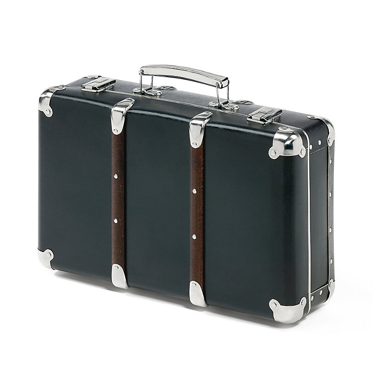 Black Cardboard Suitcases with Wooden Slats Black Small