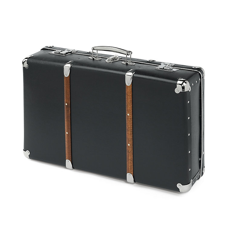 Black Cardboard Suitcases with Wooden Slats Black Medium