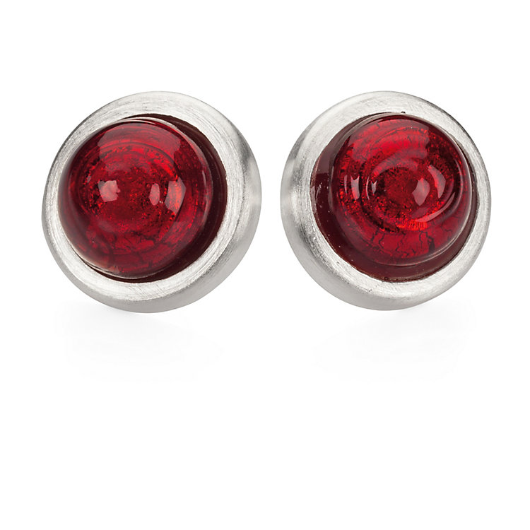 Bordered Murano Glass Ear Stud Red