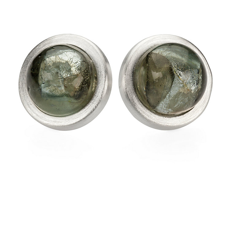Bordered Murano Glass Ear Studs Silver