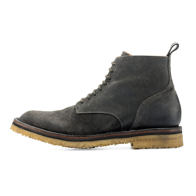 Buttero Men's Lace-up Boots with a Crepe Sole Dark grey