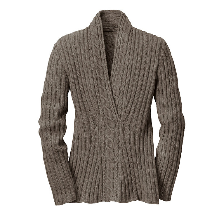 Cable Knit Women's Yak Wool Sweater Brown/Grey