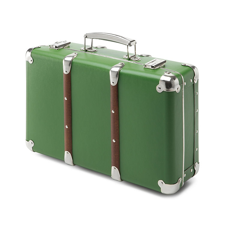 Cardboard Suitcases with Wooden Slats, Green