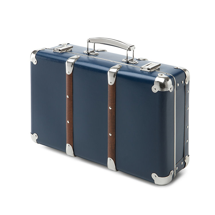 Cardboard Suitcases with Wooden Slats Blue