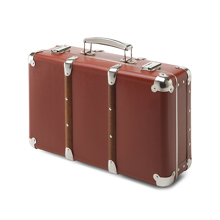 Cardboard Suitcases with Wooden Slats Brown