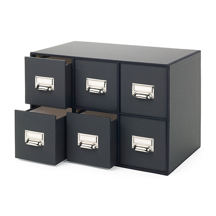 CD Box with Six Drawers Black Paper