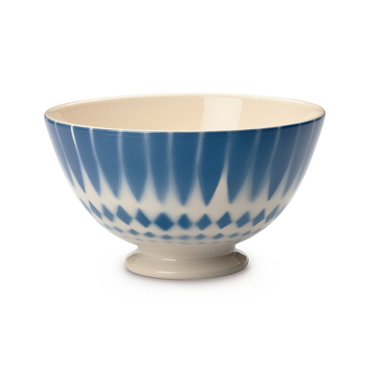 Ceramic Latte Bowl Small Diamond/Blue
