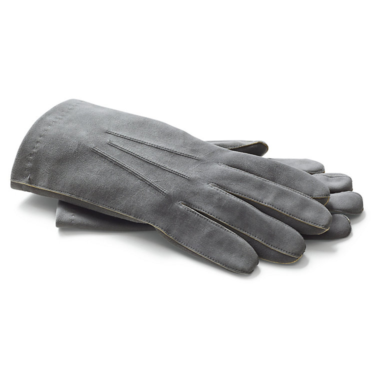 Coloured Deerskin Officer's Gloves, Grey