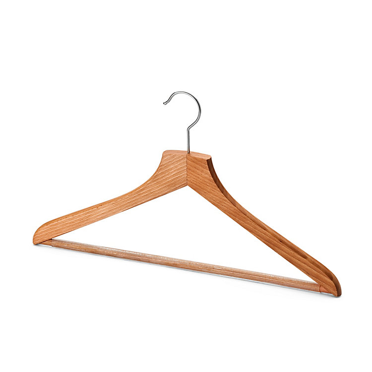 Contoured Coat Hanger for Men With Pants Bar