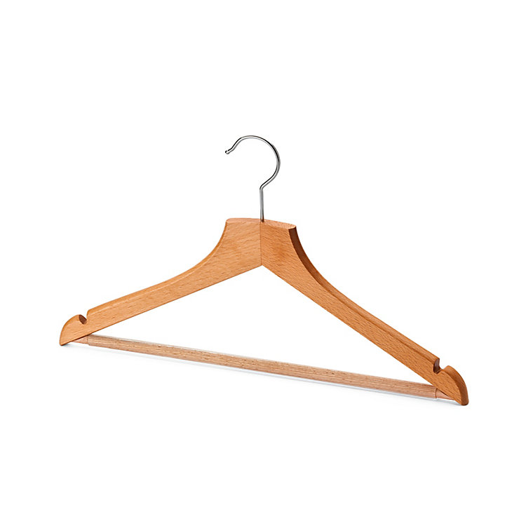 Contoured Coat Hanger for Women With Pants Bar