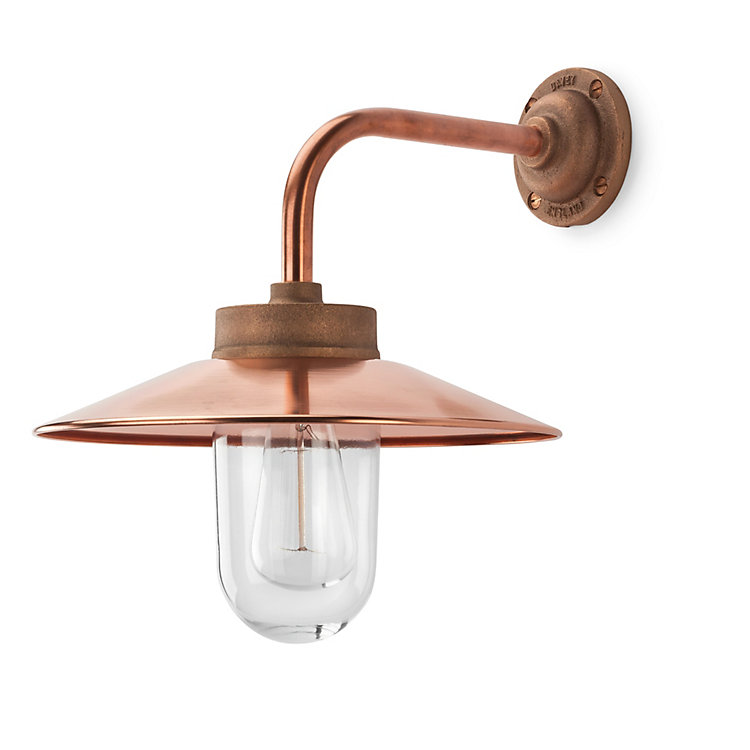 Copper Exterior Wall Lamp, right-angled