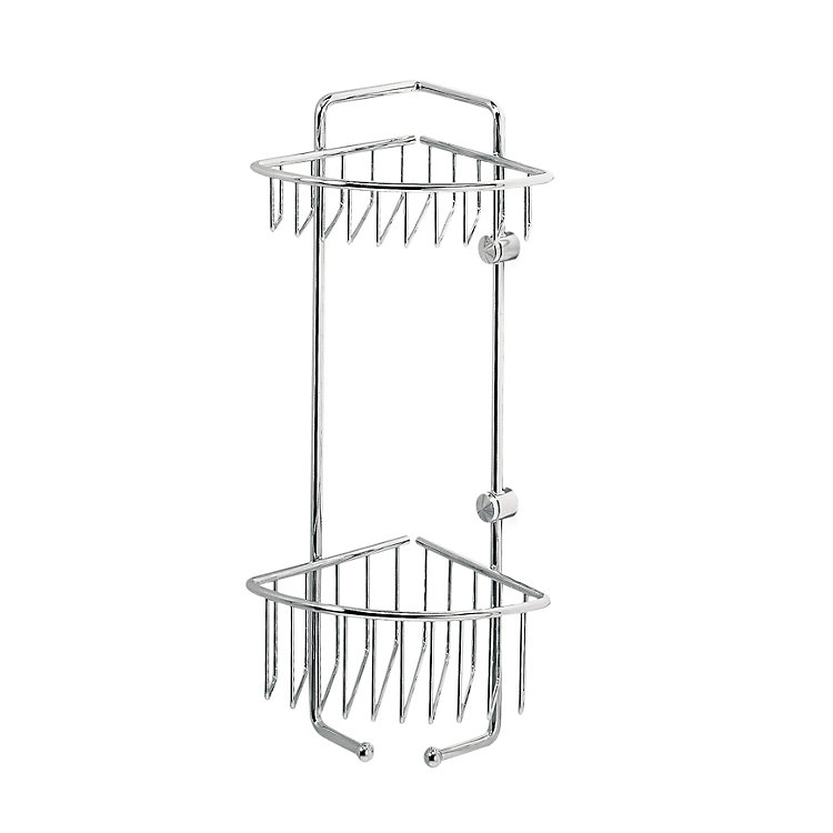 Corner Mounted Brass Shower Rack