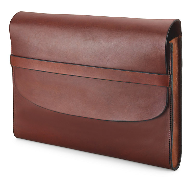 Cowhide Leather Document Bag Brown