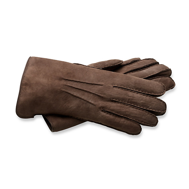 Curley Lambskin Gentlemen's Gloves, Dark brown