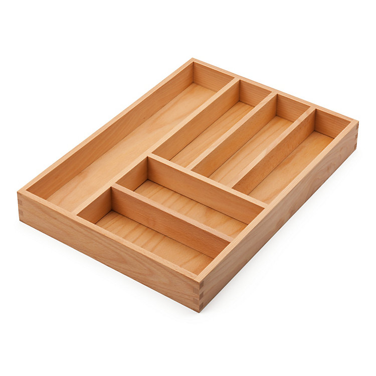 Cutlery Tray Made of Beechwood, Broad Insert