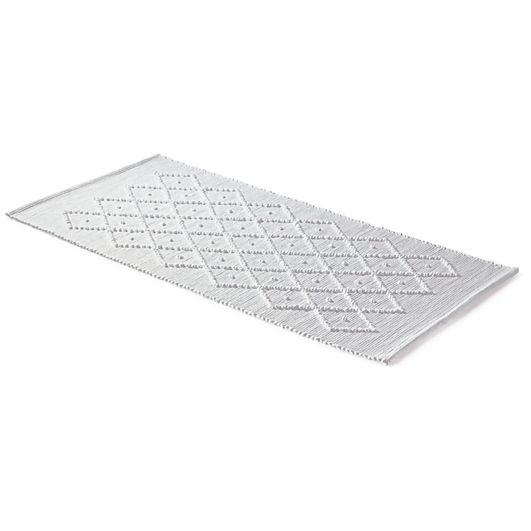 Diamond Patterned Bath Mat 50 x 70 cm White
