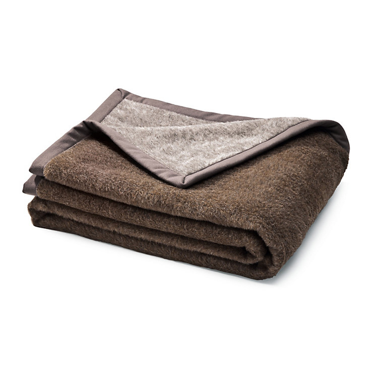Double Face Alpaca Blanket, Grey-brown