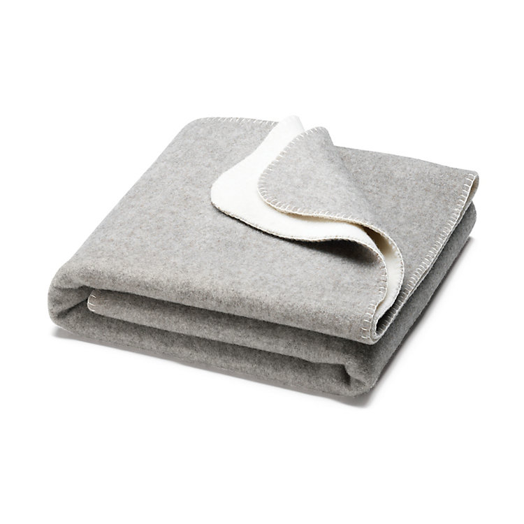 Double-faced Pure Wool Blanket, Natural White/Light Gray