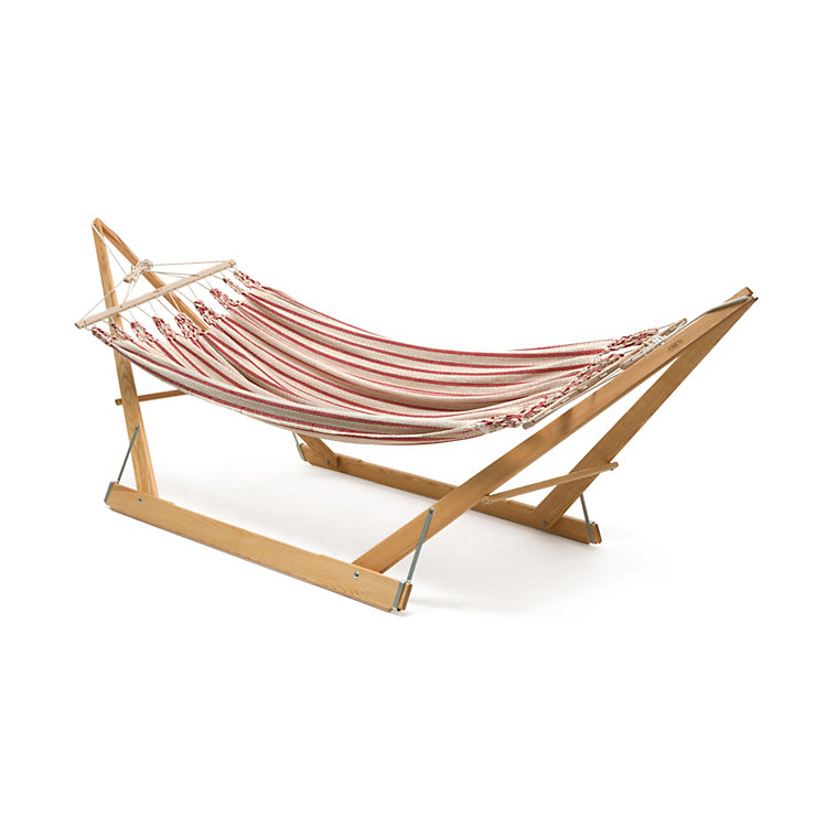 Double Hammock in Cotton Beige/Red