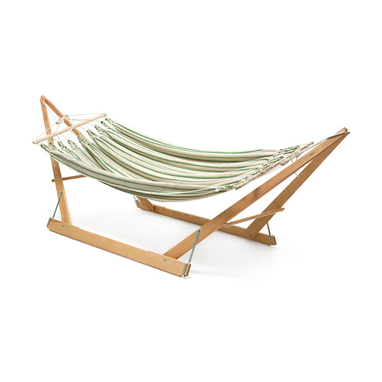 Double Hammock in Cotton, Beige/Green