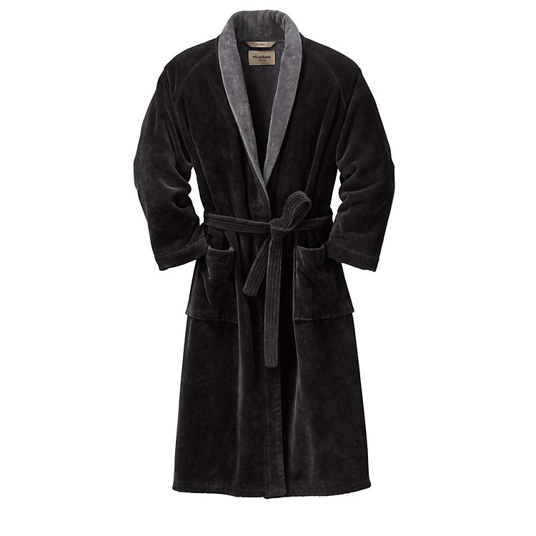 Double Velour Housecoat Black/Grey
