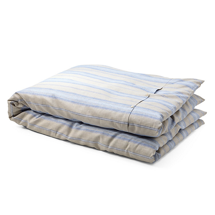 Duvet Cover Made of Linen 135 x 200 cm Blue Striped