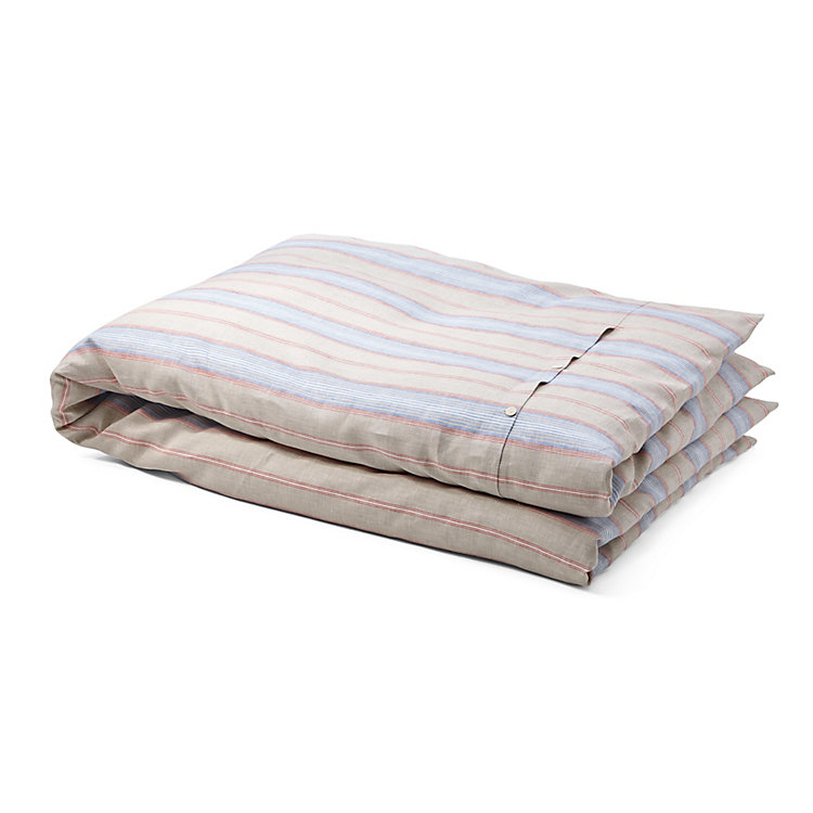 Duvet Cover Made of Linen Red and Blue Striped 135 x 200 cm