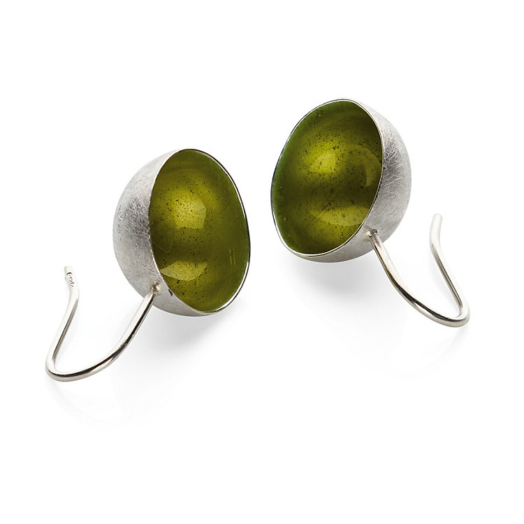Earrings Silver and Enamel Gold-Olive
