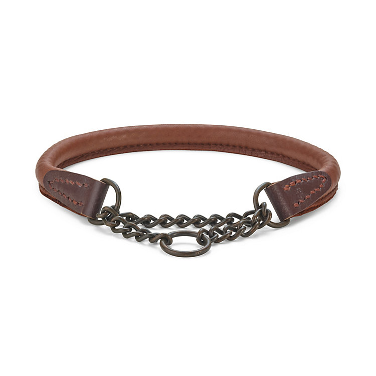 Elk leather dog collar, Neck size up to 45 cm