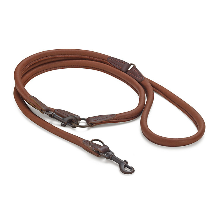 Elk leather dog lead Brown