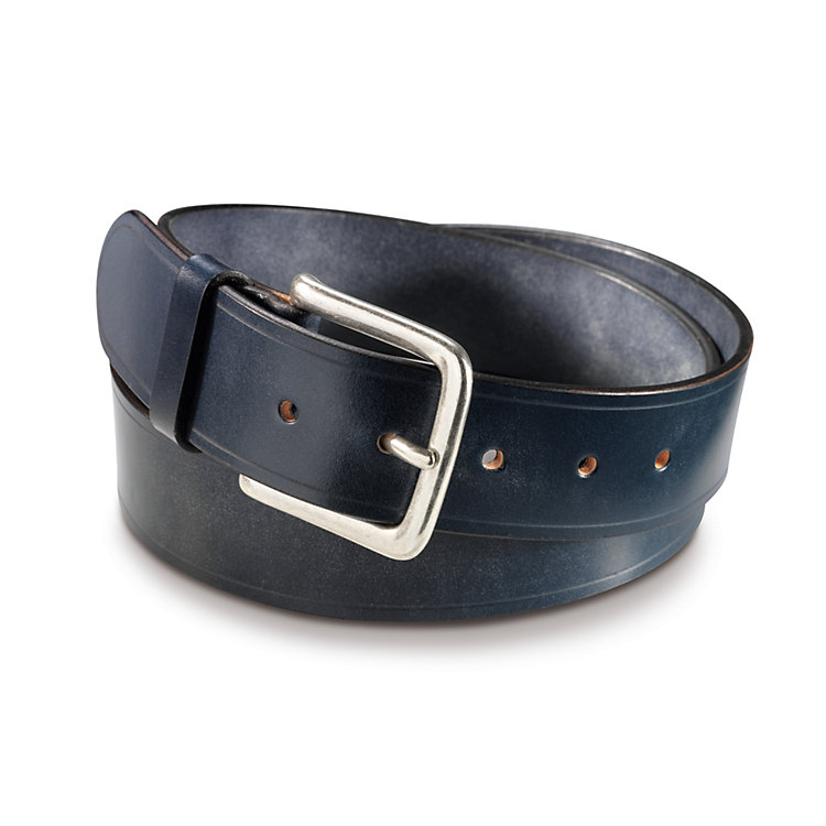 English Saddle Leather Belt by Kreis Dark Blue