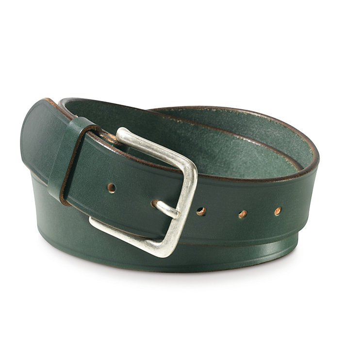 English Saddle Leather Belt by Kreis, Dark Green