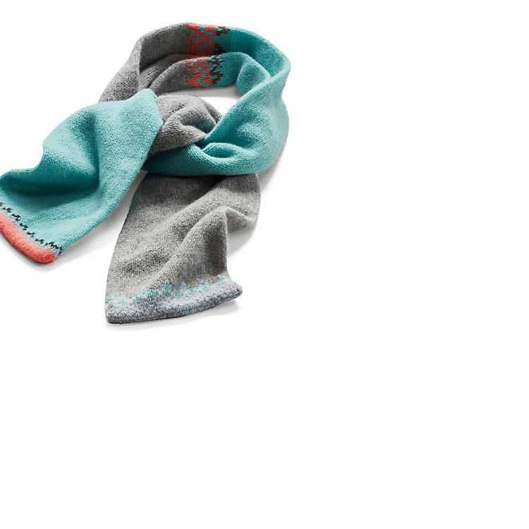 Eribé Lamb's Wool Knit Scarf Grey Turquoise