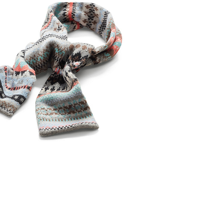 b0fea1baf8645 Eribé Lamb's Wool Patterned Knit Scarf, Grey-Light Blue | Manufactum